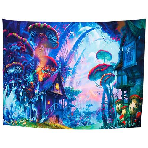 RosewineC Tapiz psicodélico, planetas, setas, bosque de sueños, toalla de pared para dormitorio, universidad, salón, decoración de pared, manta de picnic (150 x 200 cm)