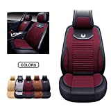 OASIS AUTO Leather&Fabric Car Seat Covers, Faux Leatherette Automotive Vehicle Cushion Cover for Cars SUV Pick-up Truck Universal Fit Set Auto Interior Accessories (OS-008 Front Pair, RED)
