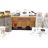 AURACAFFE' Kit de accesorios para café - 150 vasos de papel para café, biodegradables + 150 paletas de bambú orgánico + 150 bolsitas de azúcar extra fino