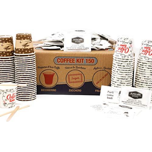 AURACAFFE' Kaffee-Zubehör-Set – 150 Pappbecher für Kaffee, biologisch abbaubar + 150 Paletten aus Bio-Bambus + 150 Beutel Zucker Extra