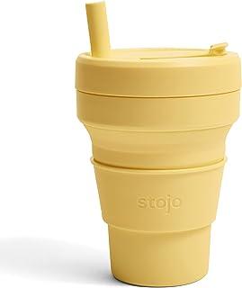 ショッププレス ストージョ STOJO POCKET CUP 470ml ミモザ ストロー付き タンブラー ラッピング無料 メッセージカード無料 持ち歩き マイコップ ふた付 折り畳みコップ コーヒーカップ ポケットカップ ギフト プレゼント