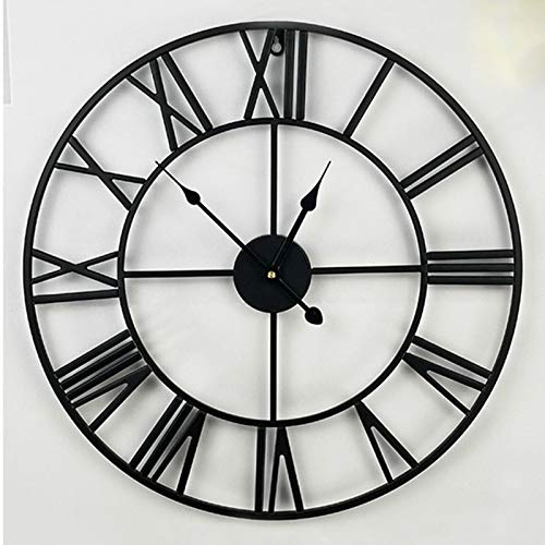 "Large Decorative Wall Clock, Iron and Wood 23"" Inch Noiseless Silent Gear Large Wall Clock with Roman Numerals, Retro Vintage Rustic Farmhouse Style Ideal for Living Room Modern Home Décor,Black,23in"
