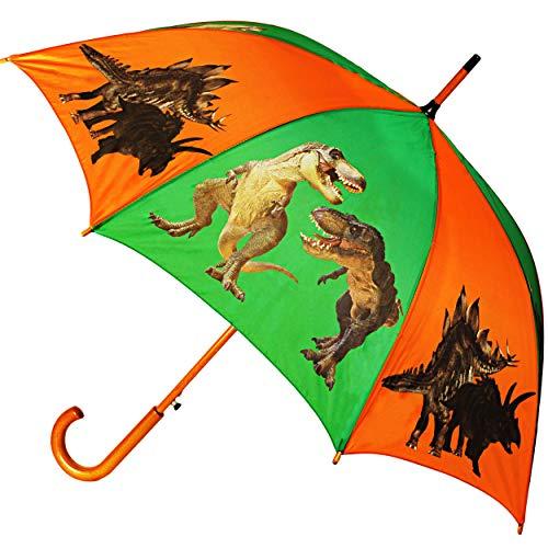 alles-meine.de GmbH großer XL Regenschirm - AUTOMATIK -  Dinosaurier - Tyrannosaurus Rex  - Ø 100 cm / Kinder & Erwachsene - groß Stockschirm mit Holz Griff - Regenschirme - Sc..