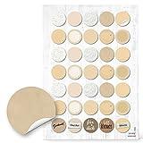 2 x 35 beige weiß natur beige creme blanko Aufkleber Etiketten Küchenaufkleber Gläser 3 cm beschreibbar Haushalt Küche Verpackung Flaschen Marmeladenglas Markierungspunkte