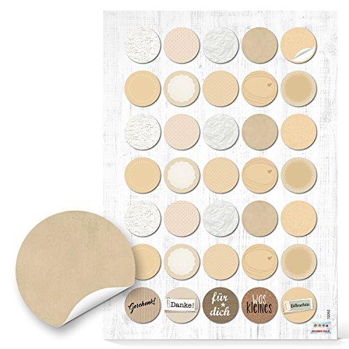 2 x 35 beige wit natuur beige crème blanco sticker keukensticker glazen 3 cm beschrijfbaar huishouden keuken verpakking flessen jam glas markeringspunten