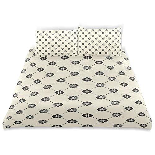Minimalistic Duvet Cover Set Minimalistic Vintage Floral Pattern Se puede diseñar Ropa de cama Decoración 3 juegos de PC 1 Edredones Fundas con 2 Funda de almohada Juego de ropa de cama de microfibra