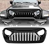 Extreme Off-Road Grill Front Grille for 2018-2020 Jeep Wrangler Accessories & Unlimited, ABS (Glossy Black)