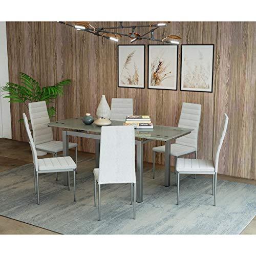 BORN Mesa de comedor extensible de cristal con 2alargadores y 6sillas, color blanco