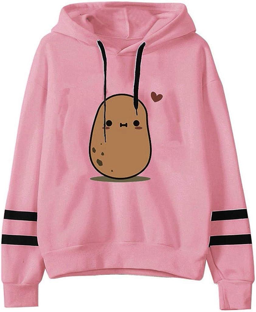 TAYBAGH Cute Hoodie for Women,Womens Teen Girls Cute Anime Print Long Sleeve Hoodies Casual Loose Sweatshirt Blouse Tops