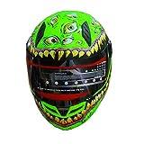 Full Face Motorcycle Helmet Venom Racing off road Street Helmet With Horns Green (XL)