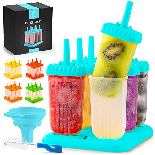 Zulay Kitchen Popsicle Molds with Sticks - 6-Piece BPA Free Reusable Popsicle and Ice Pop Molds with Drip Guard - Easy Release Ice Popsicle Maker Mold Set with Tray, Funnel & Brush (Blue)