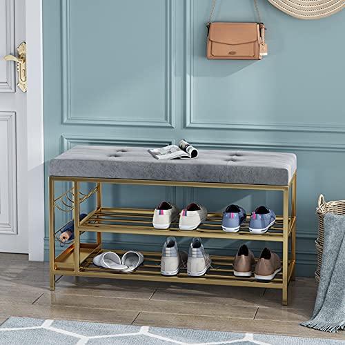 ZQQFR Banco Nordic con zapatero, banco para zapatos, taburete para zapatostaburete con asiento abierto, fácil de colocar en el pasillo, para salón, pasillo, entrada (gris 1, 100 x 30 x 45 cm)