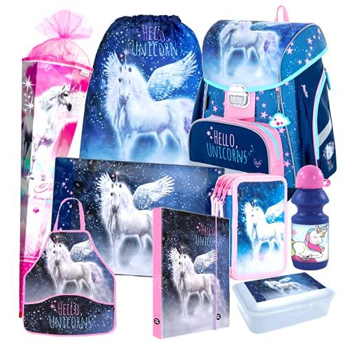 Einhorn Unicorn Pegasus Pferd Pony Horse 9 Teile Set Schulranzen RANZEN FEDERMAPPE TORNISTER Schultasche inklusive Sticker v Kids4shop Schultüte 85 cm