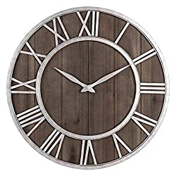 GUANGQING Wall Clock 挂钟 Farmhouse Metal & Solid Wood Noiseless Wall Clock (Dark Brown Wood Rustic Silver Metal Iron Frame with Rusted Orange Red Living Room Bedroom Office Wall Clock