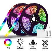 LED Strip Lights Battery Operated,SOLMORE 13.2FT/4M RGB LED Light Strip SMD5050 60 LEDs Rope Lights Led Lights for Room Color Changing Flexible LED Strip Kit for Party Indoor Outdoor (2Pcs)