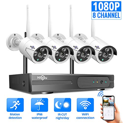 [8CH Expandable]Hiseeu Wireless Security Camera System With One-Way Audio,HD Video Security System 4Pcs 1080P 2.0MP IP Security Cameras Wireless Indoor/Outdoor IR Bullet IP Camera WiFi, No Hard Drive