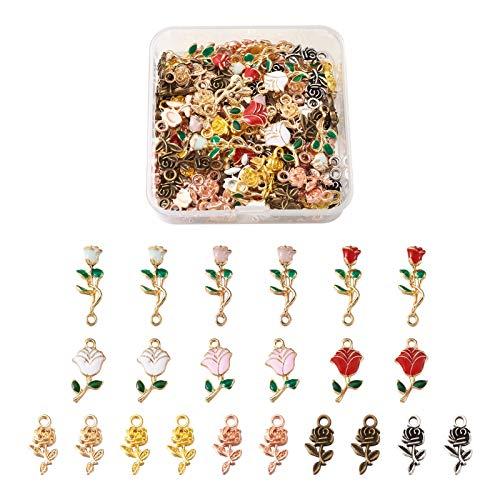 Fashewelry 124 unidades por caja de 5 estilos de rosas colgantes colgantes de 21 ~ 28 mm para el día de San Valentín DIY artesanía fabricación de joyas