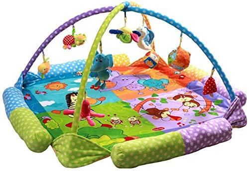SCLL Play Bow for Babies with Music Doucement surdimensionné Couverture d'activité pour bébé avec 9 Jouets Suspendus pour Filles et garçons âgés de 0 à 36 Mois Cadeau, Stable, B, B