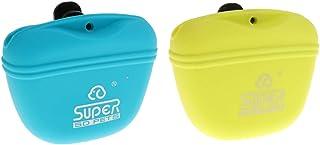 Homyl 2Pcs Pet Dog Activity Treat Pouch Snack Bag Puppy Training Walking Silicone Bag Holder Dispenser (Blue & Yellow)