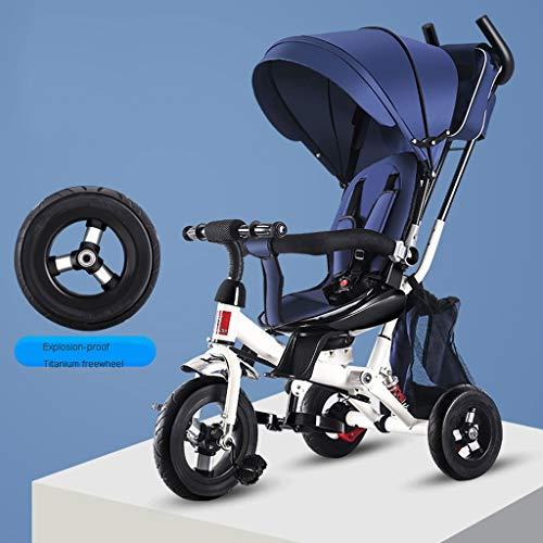 TXTC Anti-Shock Kids Bike Bambino Carrozzina Triciclo A Due Vie della Sede Promozione Passeggino Girevole E 5 Punti di Cintura di Sicurezza for Bambini A Cavallo (Color : Blue)