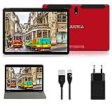 Tablet 10.1 Pulgadas Android 10.0 Tableta Ultra-Portátiles - RAM 4GB | 64GB Expandible (Certificación Google GMS) - JUSYEA - Batería de 8000mAh- WiFi—Cubierta - Rojo