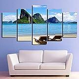 KAIASH Pintura 5 Paneles Arte Pared decoración Paisaje de la Costa del océano Tropical de Cielo Azul HD Imprimir Modern Cuadros para dormitorios