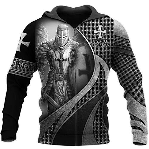 TN-KENSLY Caballeros Templarios Jesús Dios Guardia Cavalier Otoño Pullover Streetwear Impresión 3D Cremallera/Sudaderas Zip 4XL