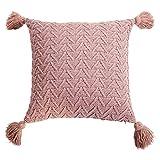 Xuebai Crochet Knitted Throw Pillow Funda con borlas Triángulo Rayas Funda de cojín Funda de Almohada Rosa