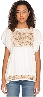 Johnny Was Women's Bertie Cupra Embroidered Blouse, Natural, Large