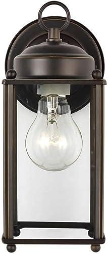"discount Sea Gull 8593-71 New Castle Clear Glass wholesale Outdoor Wall Sconce Lighting Fixture, 1-Light 75 Watt, 10""H x 5""W, Antique wholesale Bronze outlet online sale"