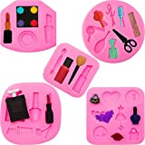 5 Pieces Makeup Tools Silicone Molds Lipstick Perfume Makeup Scissors Hair Tools Shaped Cake Fondant Molds for Chocolate Pudding, Candy, Jelly, Soap Modeling, Birthday Party Supplies, 5 Styles