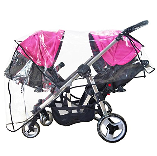 Weather Shield Double Stroller Rain Cover Twin Tandem Universal Size Baby Toddler Wind Shield Deal Popular Accessories Waterproof Windproof Travel Insect Protector (QH)