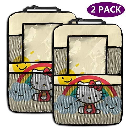 TBLHM Sunshine Hello Kitty Lot de 2 Sacs de Rangement pour siège arrière de Voiture avec Support pour Tablette