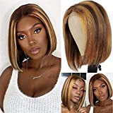 10 inch Highlight Bob Wig Human Hair 150 Density 4x4 Lace Closure Wig Straight Human Hair Wigs for Women Honey Blonde Brown Ombre Bob Wigs 4/27 (10 inch)