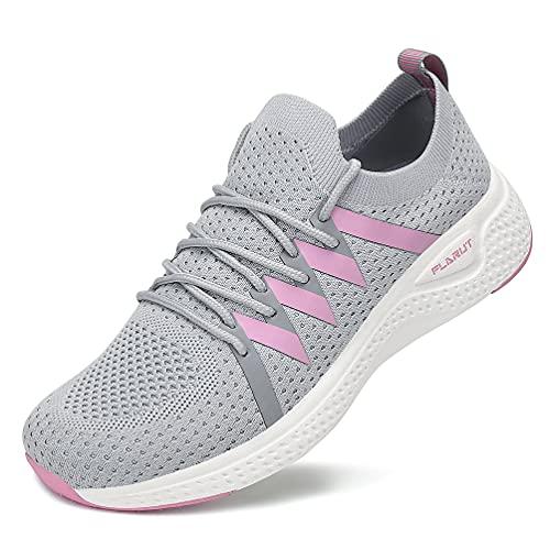 FLARUT Turnschuhe Damen Leichtgewichts Laufschuhe Atmungsaktiv Sportschuhe Straßenlaufschuhe Freizeit Schuhe für Outdoor Fitness Gym Sneaker Grau 39