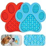 Sirecal Leckmatte Hund Schleckmatte 2 Stück Hund Lecken Pad Lick, Lick Pad Slow Feeder mit Starke Saugkraft, für Haustiere Baden Pflege und Hundetraining (Blau, Rot)