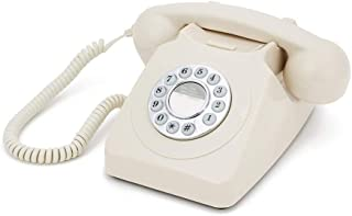 GPO 746 Push-Button 1970S-Style Retro landline Phone - Curly Cord Authentic Bell Ring - Ivory