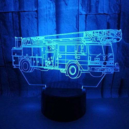 Lámpara de noche inteligente 3D APLICACIÓN Luz de noche Lámpara de ilusión 3D Camión de bomberos Habitación USB Dormitorio Acrílico Regalos Niños Mesita de noche Bebé Cumpleaños Luz Decoración