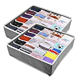 XCOZU 2 Stück Aufbewahrungsboxen für Unterwäsche, 24 Zellen Faltbox Stoff Schubladen Organizer mit Schubladenteiler, Schrank Ordnungsbox Aufbewahrung für Socken Schals Büstenhalter(Grau)