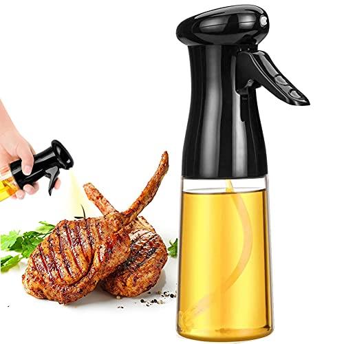Oil Sprayer Mister for Cooking 210ml Oil Spritzer for Air Fryer Olive Oil Spray Bottle Reusable Evo Oil Sprayer Dispenser Portable Kitchen Gadgets for BBQ Salad Frying Baking(Black)
