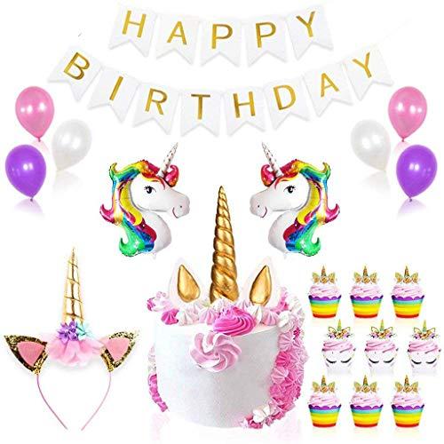 Einhorn Luftballons Deko,Tumao Happy Birthday Banner Latex Ballons , Einhorn Cupcake Toppers, Einhorn Kuchen Deko,für Geburtstag, Hochzeit, Baby Dusche, Parteien, Hauptdekorationen, Partei Dekoration.
