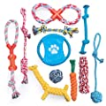 Dono Dog Rope Toys for Aggressive Chewers -Washable Cotton Rope Dog Toy - 11pcs Durable Teeth Training Puppy Chew Rope Toys Gift Set for Small Medium Large Dogs
