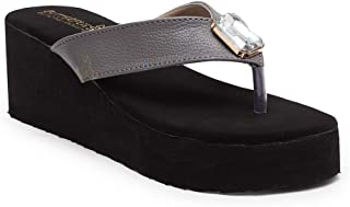Butterflies Steps Latest Collection, Comfortable Wedges Sandal for Women's & Girl's (Grey) (GHS-0051GY)