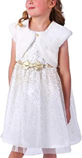Girl's Special Occasion Dress Set with Faux Fur Vest (Ivory, 8)