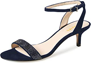 Women Open Toe Ankle Strap Slingback Sandals Kitten Heel Rhinestone Studded Buckle Dress Pumps