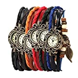 Culater® 6 Stück retro vintage Leder Frauen Armband Wickelarmband Perlen Armbanduhr mit Blatt Anhänger
