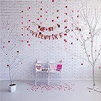 Qinunipoto 背景布 撮影用 背景 プロスタジオ背景 撮影スタジオ 撮影背景布 バレンタインデー撮影背景 木の飾り ハート形 レンガの壁 写真を撮る恋人 バックドロップ写真撮影用 小道具 ビニール 2.5m x 2.5m