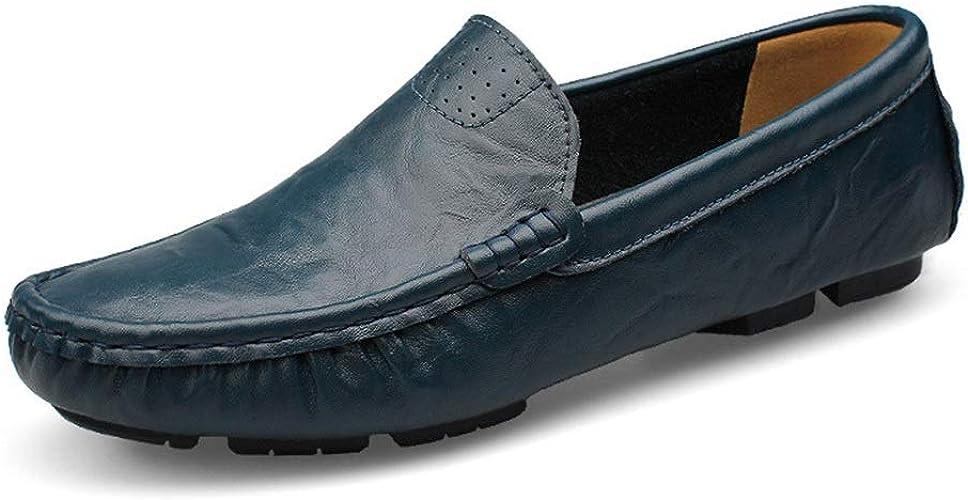 Chaussures paresseuses Chaussures de Conduite légères Chaussures Tout-Aller Chaussures de Pois en Cuir pour Hommes,Chaussures de Cricket