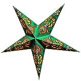 Estrella de papel plegable para colgar, diámetro 60 cm, pantalla para aplique de pared o techo, decoración de Navidad, origami, farolillo, farolillo, estrella luminosa árabesco verde