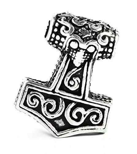 WINDALF Wikinger Pagan Haar & Bartperle THORTAL 23 mm Vikings Thorshammer mit Spiralen Haarschmuck Nordische Mythologie 925 Sterlingsilber